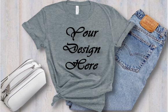 Bella Canvas 3001 Gray T-shirt Mockup Graphic Product Mockups By MockupsByGaby