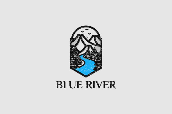 Download Free Blue River Vintage Logo Design Graphic By Burhan Bn006 for Cricut Explore, Silhouette and other cutting machines.