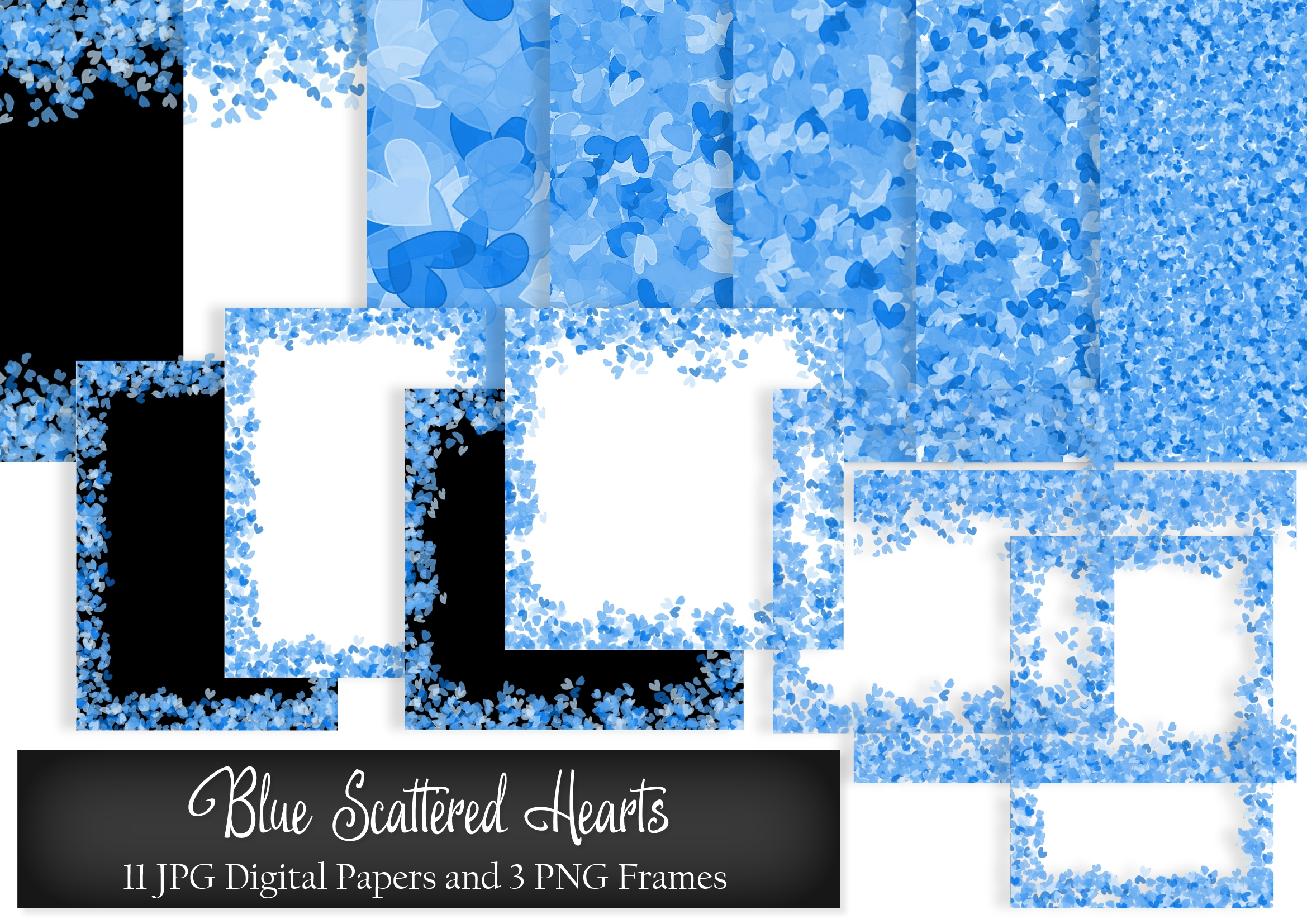 Download Free Blue Scattered Hearts Digital Papers Graphic By Simply Paper for Cricut Explore, Silhouette and other cutting machines.