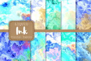 Print on Demand: Blue Turquoise Liquid Fluid Ink Papers Graphic Backgrounds By Prawny 1