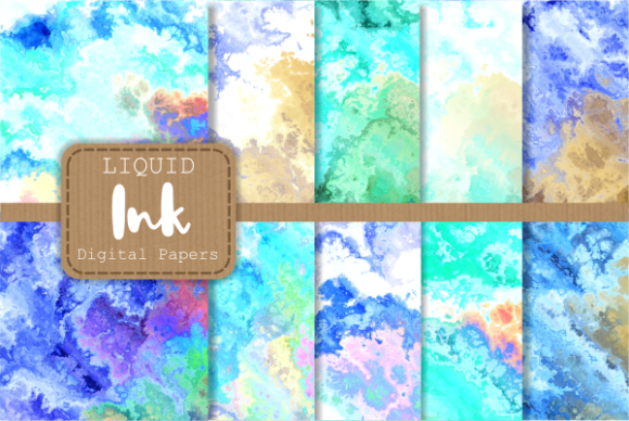 Print on Demand: Blue Turquoise Liquid Fluid Ink Papers Graphic Backgrounds By Prawny
