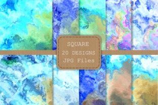 Print on Demand: Blue Turquoise Liquid Fluid Ink Papers Graphic Backgrounds By Prawny 2