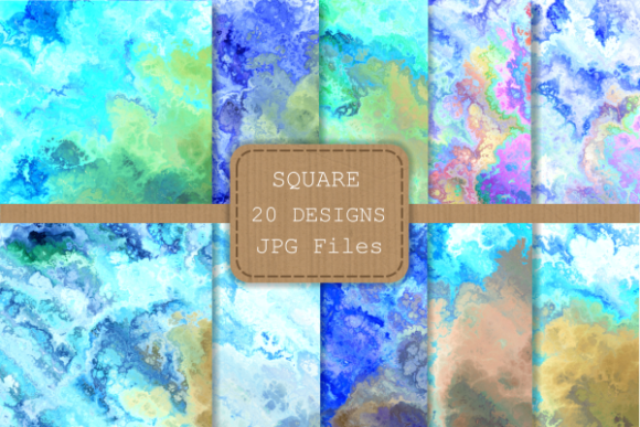 Print on Demand: Blue Turquoise Liquid Fluid Ink Papers Graphic Backgrounds By Prawny - Image 2