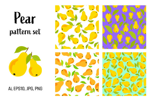 Download Free Bundle Of Seamless Patterns With Pears Graphic By Julimur2020 for Cricut Explore, Silhouette and other cutting machines.