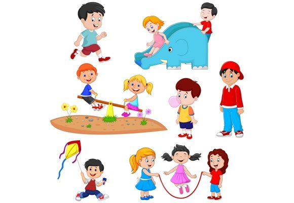 Cartoon Kids Playing Clipart Set Graphic Graphic Illustrations By tigatelusiji