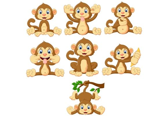 Download Free Cartoon Monkeys Clipart Set Graphic Graphic By Tigatelusiji for Cricut Explore, Silhouette and other cutting machines.