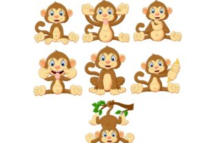 Download Free Cartoon Monkeys Clipart Set Graphic Graphic By Tigatelusiji Creative Fabrica for Cricut Explore, Silhouette and other cutting machines.