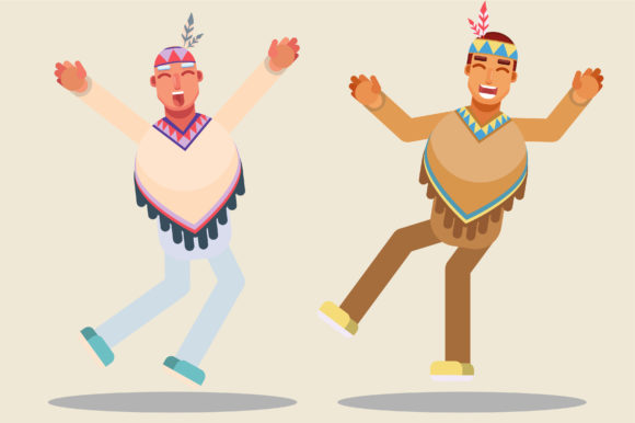 Download Free Characters Of Thanksgiving Jumping Graphic By Altumfatih for Cricut Explore, Silhouette and other cutting machines.