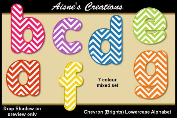 Print on Demand: Chevron (Brights) Lowercase Alphabet Graphic Objects By Aisne