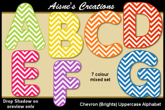 Download Free Chevron Brights Uppercase Alphabet Graphic By Aisne Creative for Cricut Explore, Silhouette and other cutting machines.