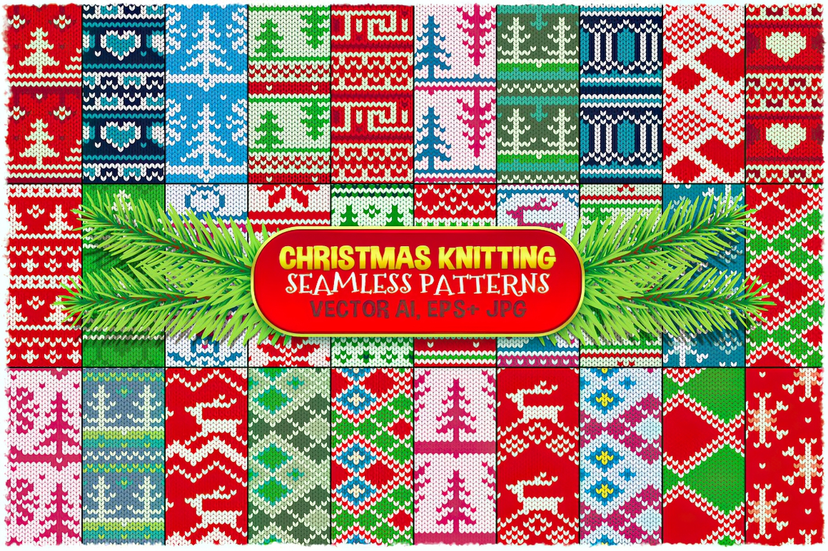 Download Free Christmas Seamless Knitting Patterns Graphic By Pixaroma for Cricut Explore, Silhouette and other cutting machines.
