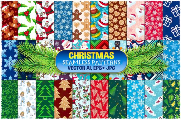 Christmas Seamless Pattern Set Graphic Patterns By pixaroma