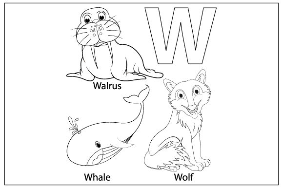 Download Free Coloring The Letter W For Children Graphic By Curutdesign for Cricut Explore, Silhouette and other cutting machines.