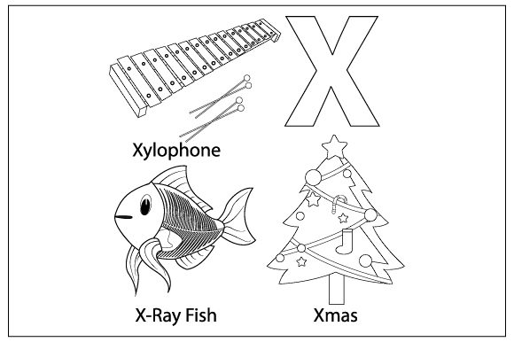 Download Free Coloring The Letter X For Children Graphic By Curutdesign for Cricut Explore, Silhouette and other cutting machines.
