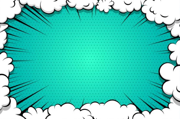 Comic Book Cartoon Cloud for Text Gráfico Fondos Por Kapitosh