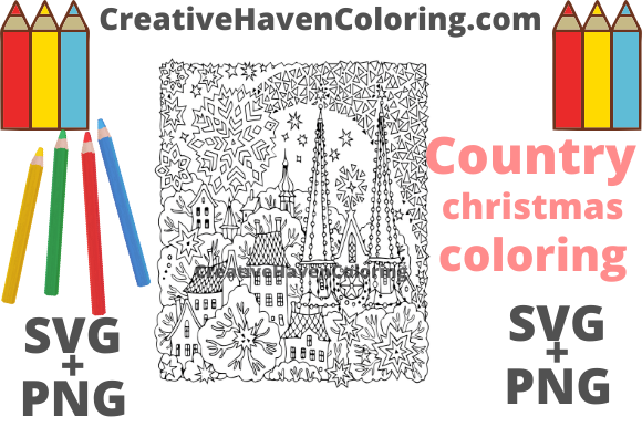 Download Free Country Christmas Coloring Page 15 Graphic By for Cricut Explore, Silhouette and other cutting machines.