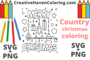 Download Free Country Christmas Coloring Page 17 Graphic By for Cricut Explore, Silhouette and other cutting machines.