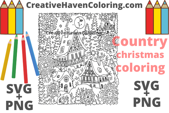 Download Free Country Christmas Coloring Page 3 Graphic By for Cricut Explore, Silhouette and other cutting machines.