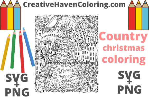 Download Free Country Christmas Coloring Page 9 Graphic By for Cricut Explore, Silhouette and other cutting machines.