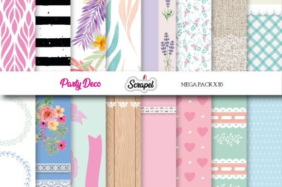 Digital Paper Party Collection Graphic Backgrounds By scrapel.ar