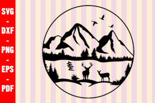 Download Free Deer Duck Lake Nature Scene Mountain Graphic By Creativeshohor for Cricut Explore, Silhouette and other cutting machines.