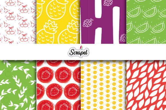 Digital Paper. Fruits Graphic Backgrounds By scrapel.ar
