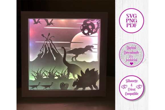 Download Free Dinosaurs 3d Paper Cut Shadow Box Graphic By Jumbleink Digital for Cricut Explore, Silhouette and other cutting machines.