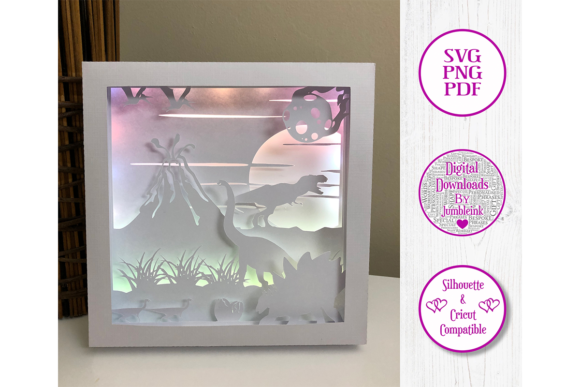 Dinosaurs 3D Paper Cut Shadow Box Graphic 3D Shadow Box By Jumbleink Digital Downloads - Image 2