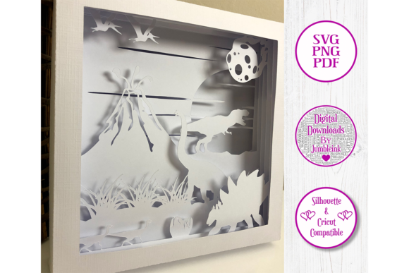 Download Free Dinosaurs 3d Paper Cut Shadow Box Graphic By Jumbleink Digital Downloads Creative Fabrica for Cricut Explore, Silhouette and other cutting machines.