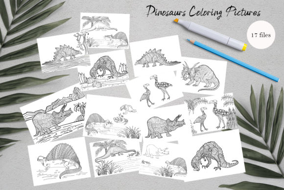 Dinosaurs Coloring for Print | Dinosaur Graphic Coloring Pages & Books Kids By ElenaZlataArt - Image 1