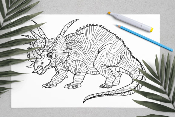 Download Free Dinosaurs Coloring For Print Dinosaur Graphic By Elenazlataart Creative Fabrica for Cricut Explore, Silhouette and other cutting machines.