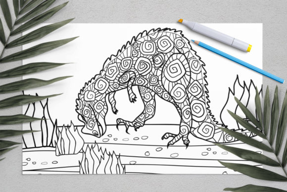 Dinosaurs Coloring for Print | Dinosaur Graphic Coloring Pages & Books Kids By ElenaZlataArt - Image 4