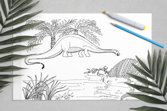 Dinosaurs Coloring for Print | Dinosaur Graphic Coloring Pages & Books Kids By ElenaZlataArt - Image 5