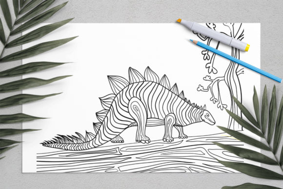 Dinosaurs Coloring for Print | Dinosaur Graphic Coloring Pages & Books Kids By ElenaZlataArt - Image 6