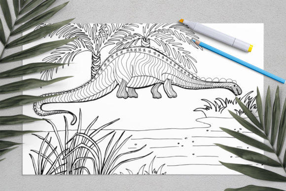 Dinosaurs Coloring for Print | Dinosaur Graphic Coloring Pages & Books Kids By ElenaZlataArt - Image 7