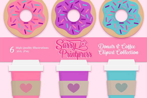 Download Free Donut Worry Be Happy Clipart Collection Graphic By Sassy for Cricut Explore, Silhouette and other cutting machines.