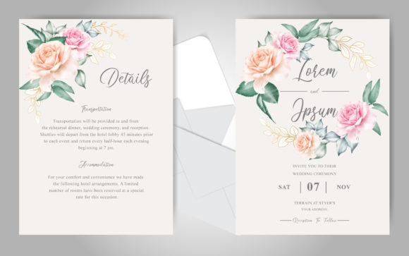 Download Free Beautiful Orange Watercolor Wedding Card Graphic By Federiqoend for Cricut Explore, Silhouette and other cutting machines.
