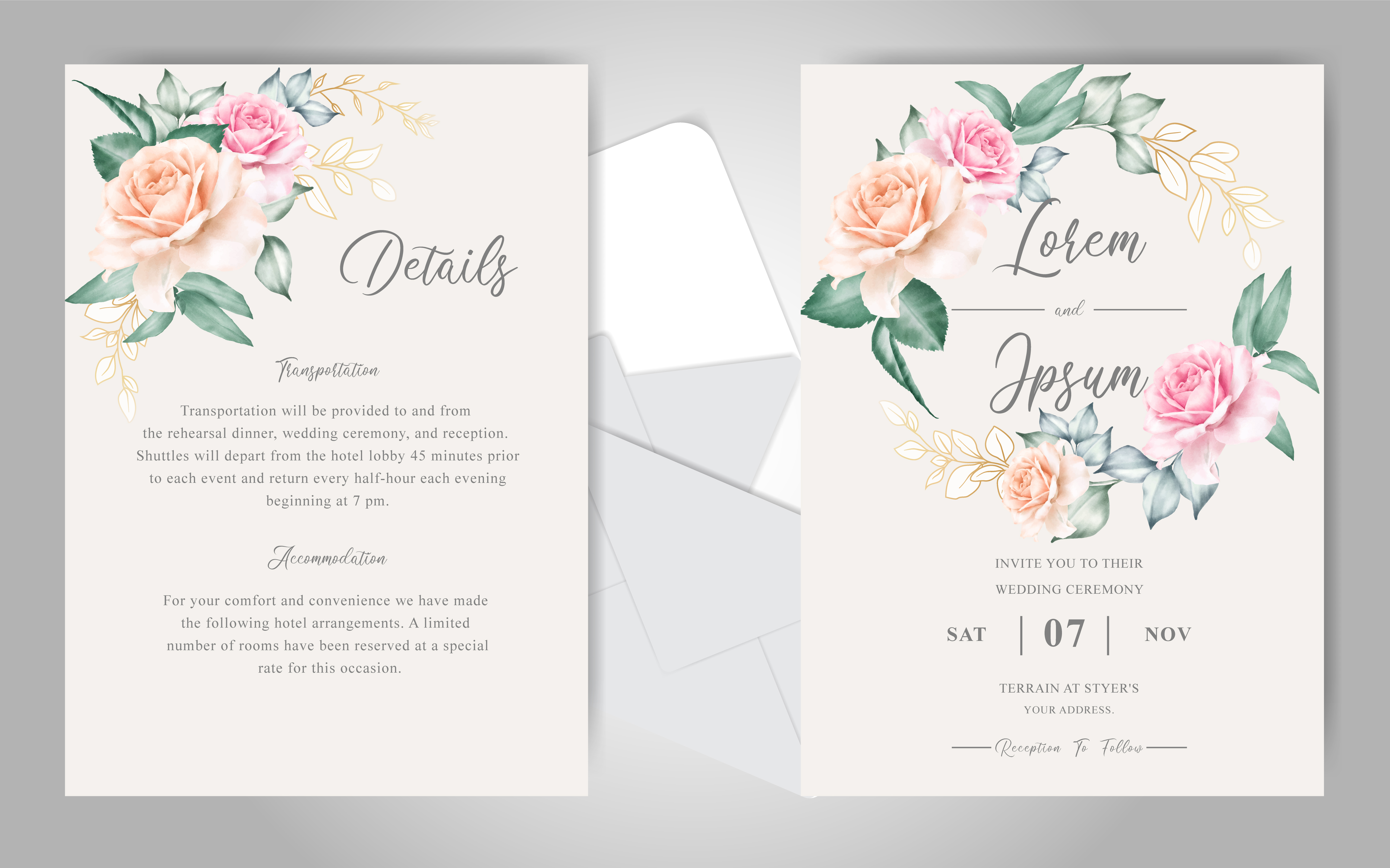 Download Free Elegant Floral Wedding Invitation Card Graphic By Federiqoend for Cricut Explore, Silhouette and other cutting machines.