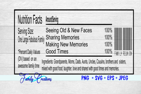 Download Free Fabulous Family Reunion Nutrition Label Graphic By Family for Cricut Explore, Silhouette and other cutting machines.