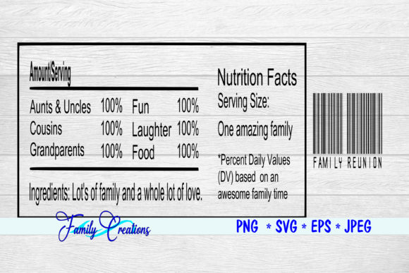 Download Free Family Reunion Nutrition Label Graphic By Family Creations for Cricut Explore, Silhouette and other cutting machines.