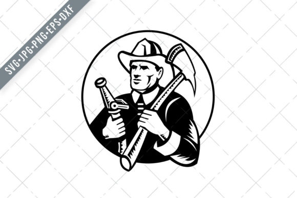 Print on Demand: Fireman Holding Fire Axe and Hose Graphic Illustrations By patrimonio