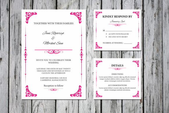 Download Free Floral Wedding Invitation Template Set Graphic By Sistecbd for Cricut Explore, Silhouette and other cutting machines.