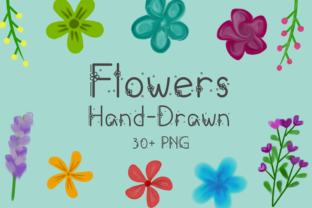 Print on Demand: Flowers Hand-Drawn Watercolor Graphic Objects By nuraisyahamalia1729