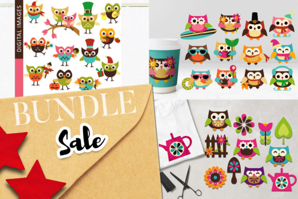 Download Free Four Seasons Owls Bundle Graphic By Revidevi Creative Fabrica for Cricut Explore, Silhouette and other cutting machines.