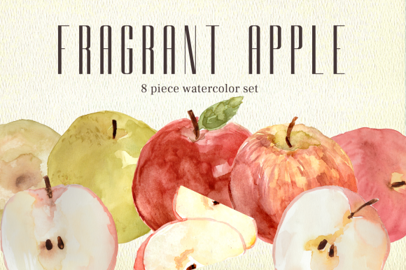 Download Free Fragrant Apple Watercolor Clipart Set Graphic By Roselocket for Cricut Explore, Silhouette and other cutting machines.
