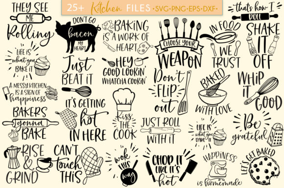 Download Free Funny Kitchen Bundle Graphic By Freelingdesignhouse Creative for Cricut Explore, Silhouette and other cutting machines.