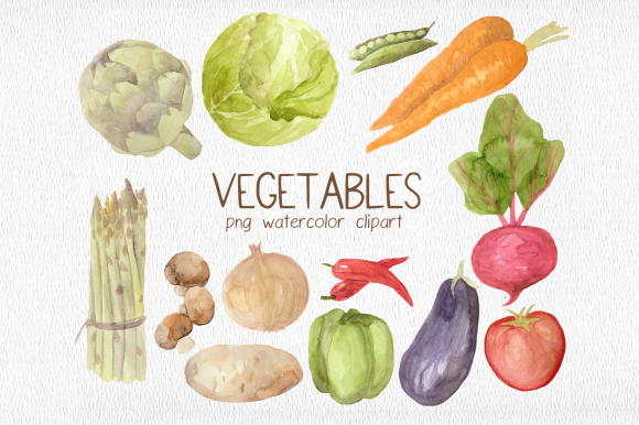 Print on Demand: Garden Vegetables Watercolor Clipart Set Graphic Illustrations By roselocket
