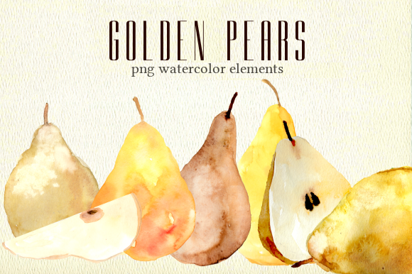 Print on Demand: Golden Pears Watercolor Fruit Set Graphic Illustrations By roselocket