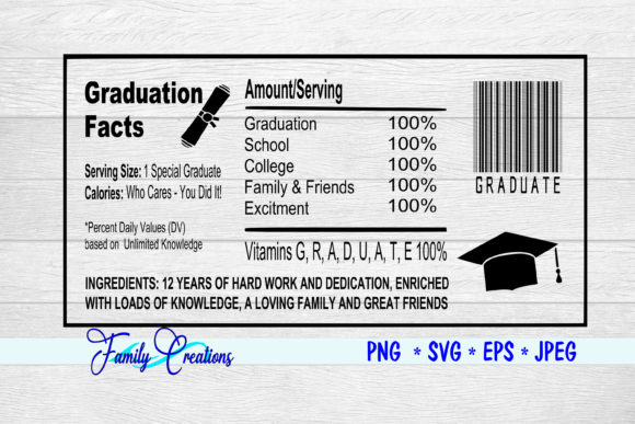 Download Free Graduation Facts Nutrition Label Graphic By Family Creations for Cricut Explore, Silhouette and other cutting machines.