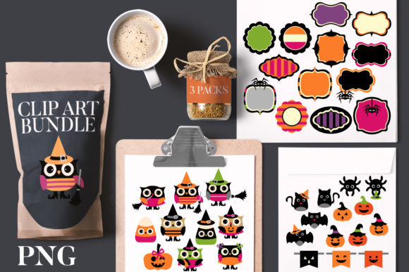 Print on Demand: Halloween Owl Party Bundle Graphic Illustrations By Revidevi